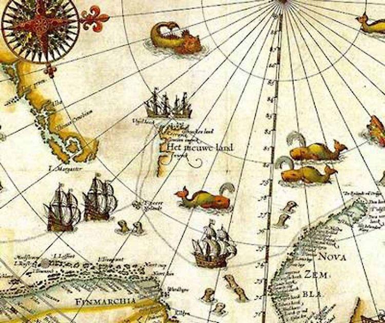 Kaart van Willem Barentsz met links in het midden Het Nieuwe Land (Spitsbergen) en rechts Nova Zembla. (Afbeelding: universiteit van Tromsø)