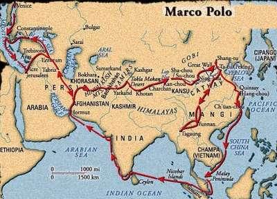 Kaart van de route die Marco Polo zou hebben afgelegd
