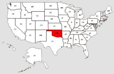 De staat Oklahoma in het rood gemarkeerd