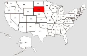 De staat South Dakota in het rood gemarkeerd