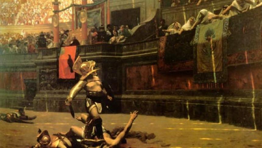 Schilderij van Jean-Léon Gérôme van een gladiatorengevecht in het Colosseum (1872)