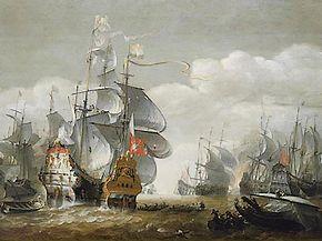'Slag bij Lowesoft'. Schilderij van Hendrik van Minderhout. De Eendragt (rechts) in gevecht met het vlaggeschip van de Engelsen: HMS Royal Charles.