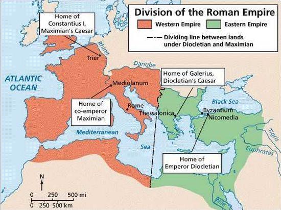 Het Romeinse Rijk na hervormingen van Diocletianus (bron: Indiana University Northwest)