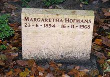 Hofmans' grafsteen op begraafplaats Zorgvlied