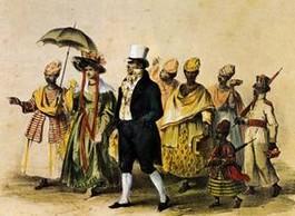 Planter vergezeld door zijn slaven op weg naar de kerk, Pierre Jacques Benoit - 1839 (Afb: museumkennis.nl)