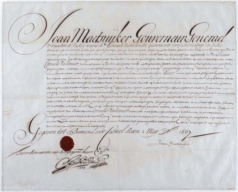 Akte ondertekend door van Riebeeck