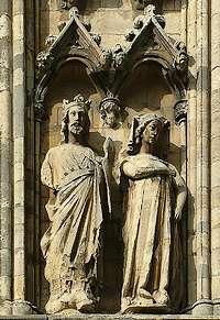 Beeld van Eduard I van Engeland en Eleonora van Castilië in de kathedraal van Lincoln