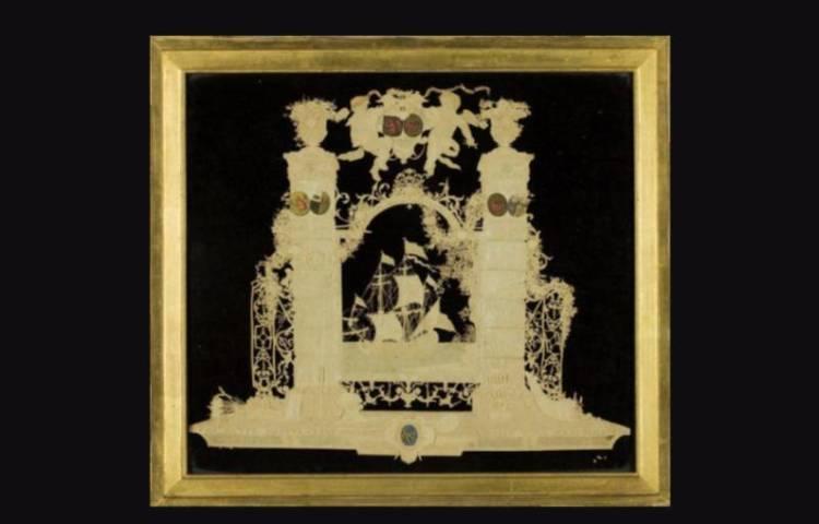 Een papieren kunstwerk uit 1746 (Afb: Groninger Museum)