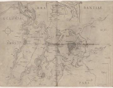 Kaart van 's-Hertogenbosch en omgeving met de belegering van de stad door Fredrik Hendrik in 1629, kopergravure – Foto: BHIC