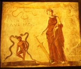 Afbeelding van de godin Fortuna op een toiletwand in Pompeji – Foto: Gemma Jansen – Radboud Universiteit Nijmegen
