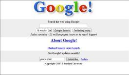 Oude startpagina van Google
