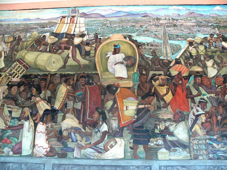 Muurschildering van Diego Rivera over het leven in Mexico in de tijd van de Azteken