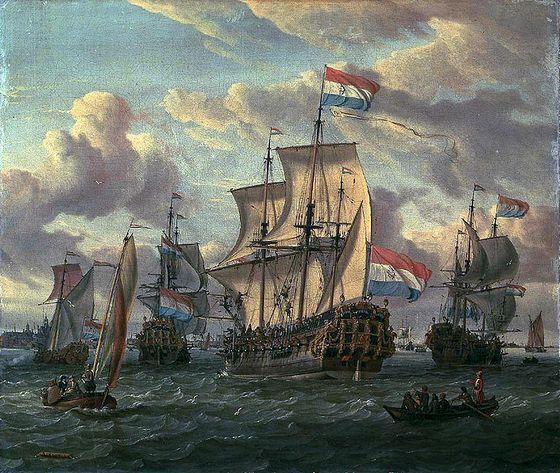 Het fregat Pieter en Paul op het IJ - Abraham Storck, 1698-1700