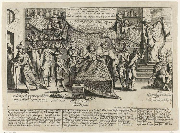 Filibert Bouttats (II), Consult van de medicijnen inde swaere siekte van den grooten Sultaen ende remedie van hem haest te genesen. Ets, 1683. Rijksmuseum