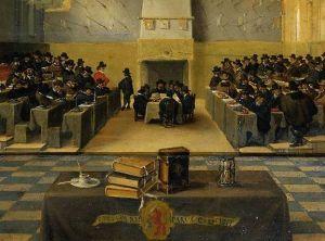De grote zaal op het Binnenhof tijdens de grote vergadering der Staten Generaal – Dirck van Delen, 1651 (Rijksmuseum Amsterdam)