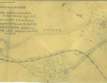 Kaart gemaakt door Gregor Slowenczik die tijdens de oorlog bij de opgraving in Katyn betrokken was. In 1946 verschafte hij informatie over het bloedbad aan een Amerikaanse geheime dienst - Foto: National Archives