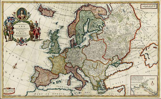 De kaart van Europa in 1708 van Moll, opgedragen aan Her most sacret Majesty Ann, Queen of Great Britain, France & Ireland - Afb: www.RareMaps.com -- Barry Lawrence Ruderman Antique Maps Inc.)