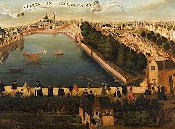 De Hofvijver gezien vanaf het Doelenterrein – schilderij door Hollandse School, 1553 – Collectie Haags Historisch Museum