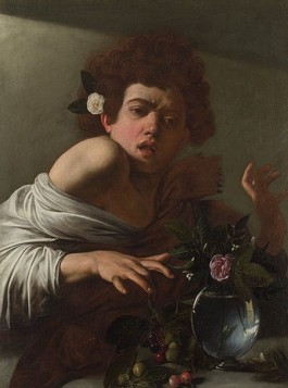 Caravaggio (1571 – 1610). Een jongen gebeten door een hagedis, 1595-1600. Doek, 66 x 49,5 cm. The National Gallery, London (Aangekocht met steun van J. Paul Getty Jr Endowment Fund, 1986)