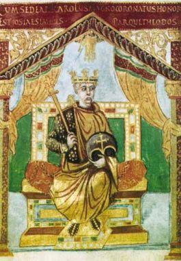 Karel de Kale, uit een manuscript door Luithard tussen 842 en 869 in de gouden unicalen voor Karel zelf geschreven. (Bibliothèque Nationale, Parijs)