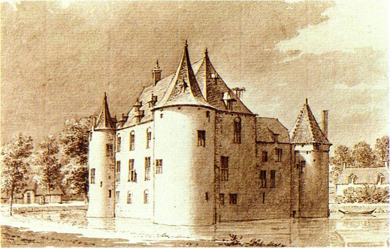 Kasteel Ammersoyen omstreeks 1730 door Cornelis Pronk