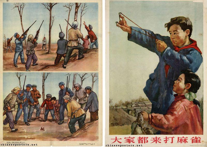Chinese affiches waarop te zien is hoe er op mussen wordt gejaagd - Afb: chineseposters.net