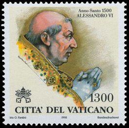 De slechte resputatie van pau Alexander VI weerhield het Vaticaan er in 1998 niet van een postzegel met zijn beeltenis uit te geven.