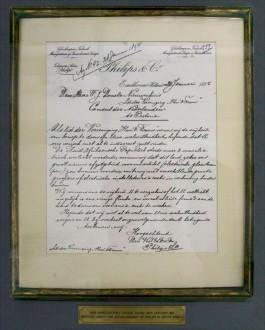 De eerste zakelijke brief van Anton Philips - Foto: Philips Museum