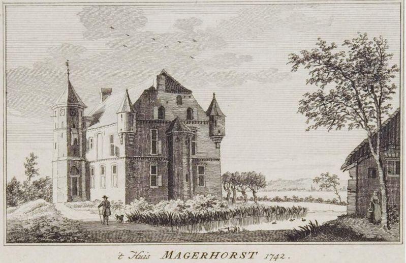 Huis Magerhorst door Paulus van Liender, naar origineel van Jan de Beijer 1742