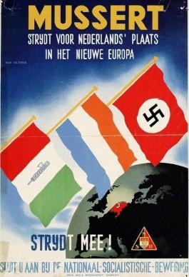 Op deze NSB-poster weet het oranje-blanje-bleu zic gesteund door de Intaliaans fascisten en Nazi-Duitsland. (Illustratie via Krapuul.nl)