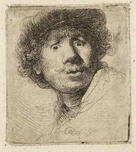 Rembrandt, Zelfportret met baret en opengesperde ogen, 1630. Ets, enige staat