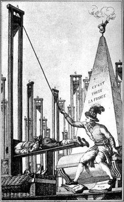 Spotprent in het eind van de18e eeuw waarop Robespierre, nadat alle Fransen zijn geëxecuteerd, de valbijl laat vallen voor de beul. (Onbekende auteur)