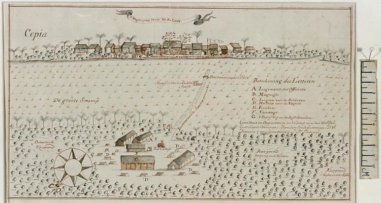 Een weglopersdorp in Suriname - Onder-luitenant Frederici, 1772 - Nationaal Archief