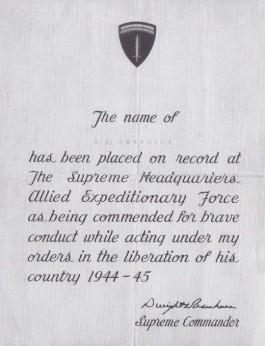 Onder de loftuitingen die Reeskamp na de oorlog ten deel vielen behoorde ook een onderscheiding die hem door generaal Eisenhower werd toegekend