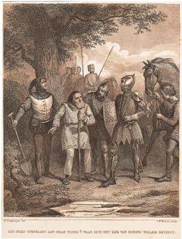Op aanwijzing van een oude West-Fries werd het lichaam van de Roomskoning teruggevonden (uit Arend, Algemeene geschiedenis, II).