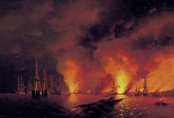 Houten slotacte. Russische victorie tegen de Ottomanen tijdens Slag bij Sinope in 1853 - Doek van Ivan Aivazovsky