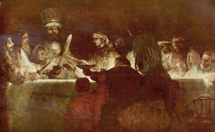 De Samenzwering van Claudius Civilis - Rembrandt van Rijn, 1662 (Nationalmuseum Stockholm)