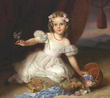 Portret van Alexine door J.B. van der Hulst, 1839 – Alexine was vier jaar oud toen dit portret van haar werd gemaakt. De schilder Van der Hulst werkte ook voor het hof. (Collectie Tinne Family Archives)