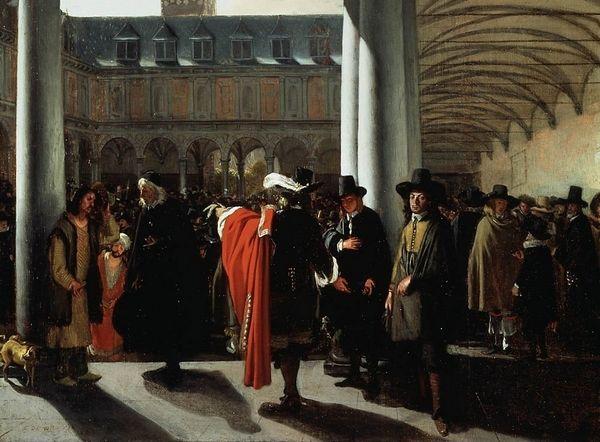 De in 1609 opgerichte Beurs van Amsterdam - Emanuel de Witte, 1653