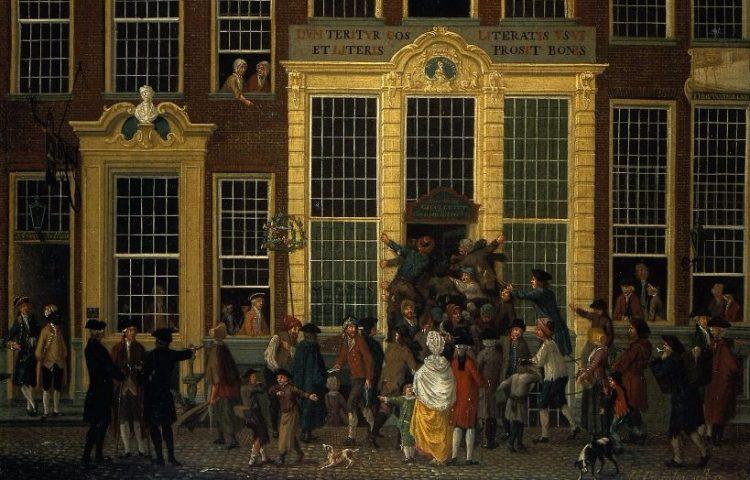 De boekhandel en het loterijkantoor van Jan de Groot in de Kalverstraat in Amsterdam, Isaac Ouwater, 1779