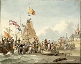 Aankomst van koning Willem I te Scheveningen, 30 november 1813 van Nicolaas Lodewijk Penning (1764 -1818). (Coll. Rijksmuseum, Amsterdam)