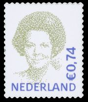 De door Peter Struycken ontworpen postzegel van koningin Beatrix