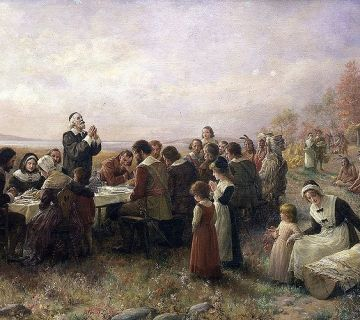 De eerste Thanksgiving Day in Plymouth, 1621 - Jennie A. Brownscombe, 1914
