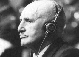 Julius Streicher tijdens het Proces van Neurenberg