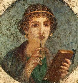 Sappho-afbeelding. Romeins fresco, 45-100 n.Chr., Pompeï,