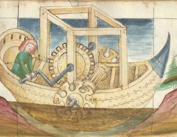Schip met schoepraderen, Bellifortis, F° 113v.