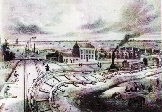 'Het Laantje van Van der Gaag' was een omleiding die bij Delft in de spoorweg van Den Haag naar Rotterdam moest worden aangelegd, omdat grondspeculanten 20.000 gulden eisten voor de grond, terwijl de Hollandse Stoomtrein Maatschappij er maar 100 gulden voor over had. De trein reed er toen maar omheen. (Prent van H.W. Last, 1947)
