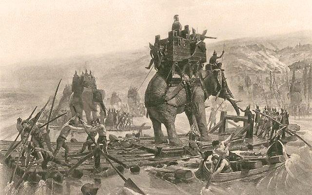 Hannibal steekt de Rhodanus (Rijn) over, op de rug van een olifant (Henri Motte, 1878)