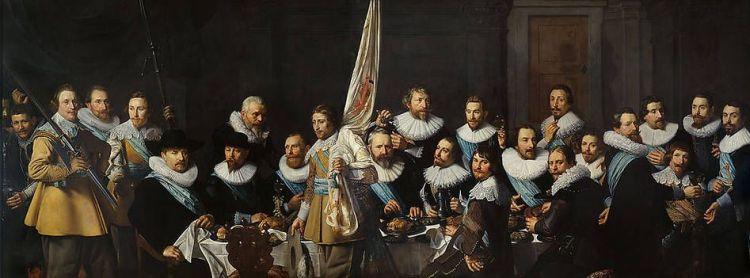 Maaltijd van schutters van de compagnie van kapitein Jacob Backer en luitenant Jacob Rogh , 1632 Nicolaes Eliasz. Pickenoy (1591 - 1653)