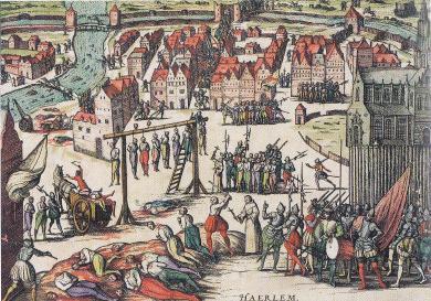 Na de overgave van Haarlem werden de militaire tegenstanders geëxecuteerd. Ets Frans Hogenberg (1573).